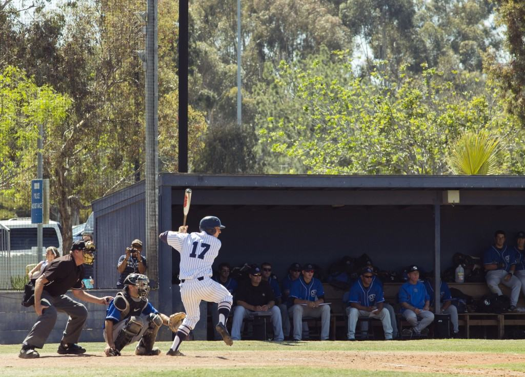 Junior Erik Lewis, pictured in a May 2 game against Cal State San Bernardino. Photo by Kelsea Bergh/Guardian