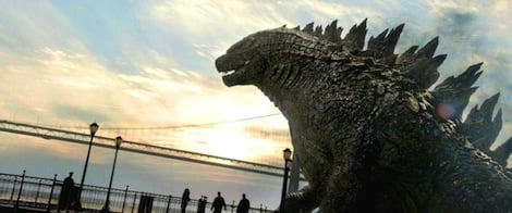 Godzilla overlooks the Golden Gate Bridge, preparing to destroy the city. Photo courtesy of ACESHOWBIZ.