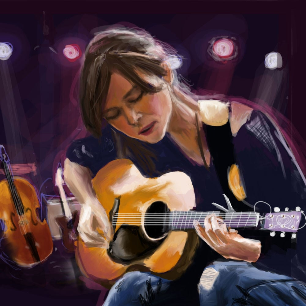 "Caricature of Keira Knightley as Gretta in ""Begin Again"" by Lynn Hao."