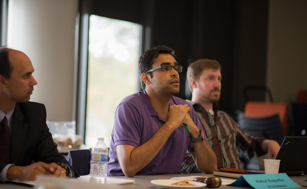 GSA President Rahul Kapadia listens in during the body's June 2 meeting where GSA voted to decertify the Che Cafe of its co-operative status.