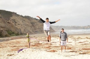 Matt Leung (left) and Christian Cervantes Carr (right), two UCSD Muir College students, slackline at Black's Beach. Photo by Diana Kraikittikun/Guardian