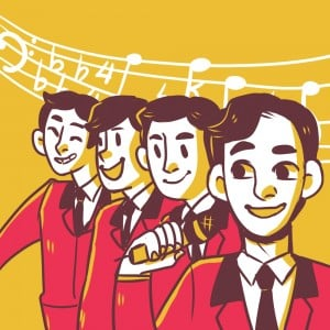 """Vincent Piazza as Tommy DeVito, Erich Bergen as Bob Gaudio, Michael Lomenda as Nick Massi and Frankie Vallie as John Young in """"Jersey Boys."""" Illustration by Jenny Park."""