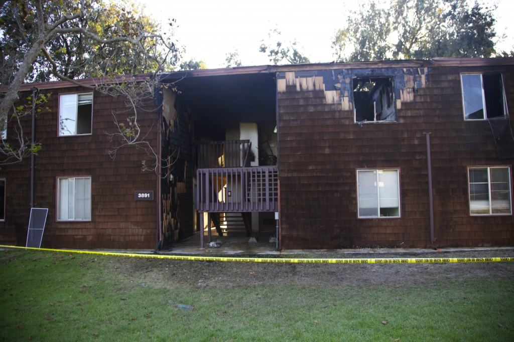 The Mesa apartment post-fire.