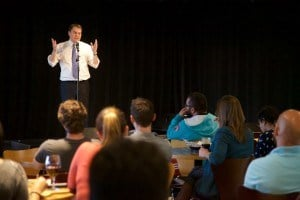 DeMaio takes questions from students at the Loft Tuesday. Photo: Aleksandra Konstantinovic, UCSD Guardian.