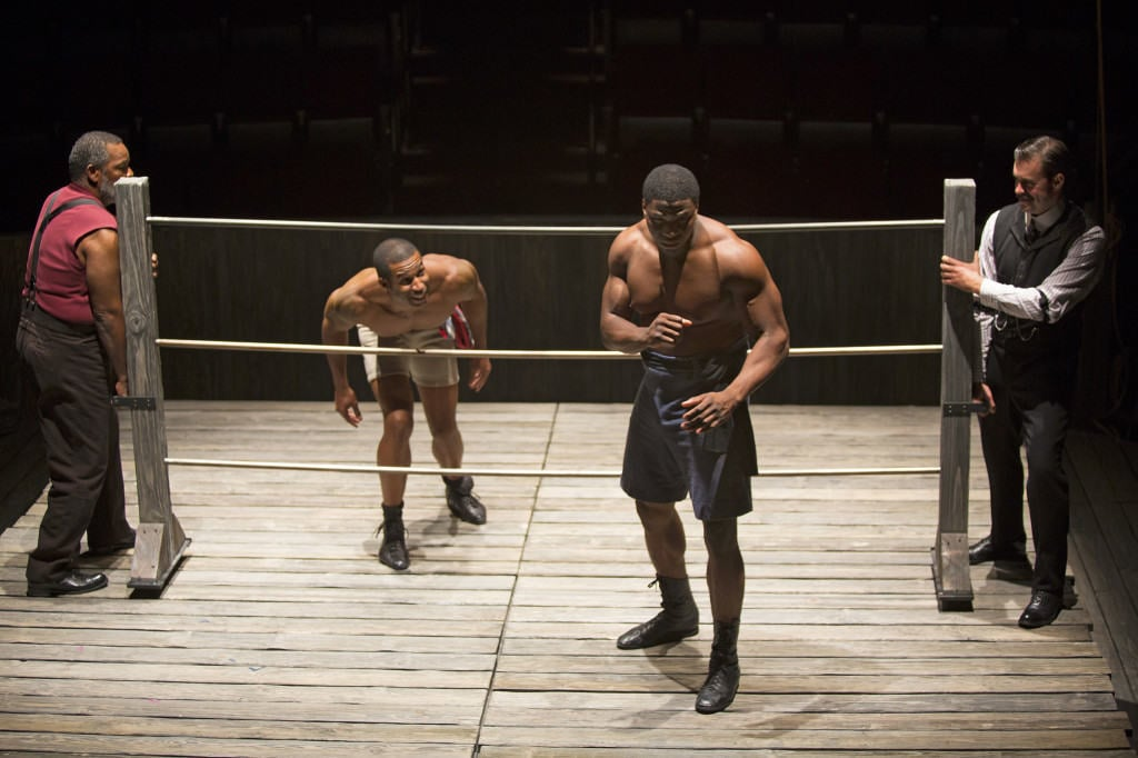 Tensions run high in an artistically depicted boxing match at The Old Globe. Photo used with permission from Jim Cox via The Old Globe.