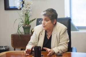 UC President Janet Napolitano speaks to UC campus news reporters on Sept. 29 after her first year in office. Photo by Taylor Sanderson.