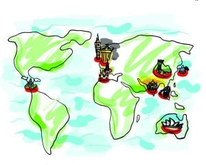 UCSD students have the opportunity of studying abroad through a multitude of programs, such as the UC Education Abroad Program (UCEAP). More information can be found on the Programs Abroad Office website, pao.ucsd.edu. Illustration by Annie Liu.