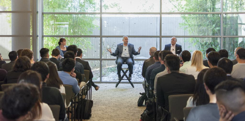 Dean of Arts and Humanities Cristina Della Coletta and alumni Mark Suster and Aryeh Bourkoff host a question-and-answer  session at the Atkinson Pavilion during the launch of UCSD's entrepreneurial training program. Siddharth Atre/UCSD Guardian.