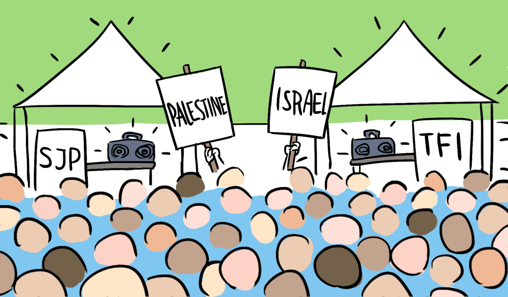 Students for Justice Palestine and Tritons for Israel gather support on Library Walk. Illustration by Elyse Yang.