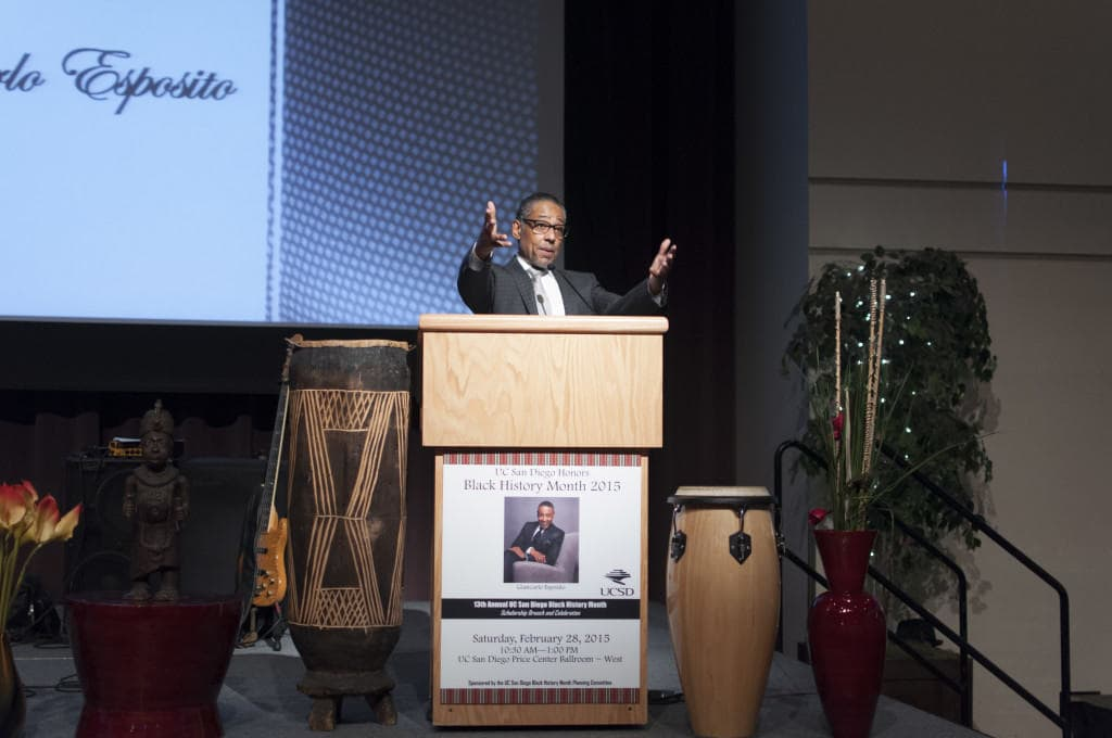 Giancarlo Esposito presents the keynote speech at the Black History Month Scholarship Brunch. Photo by Siddharth Arte.