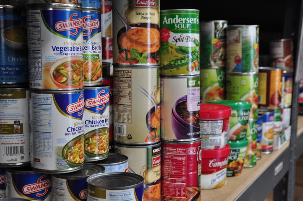 A food pantry stocked with a collection of imperishable foods. Photo courtesy of Salvation Army USA West (via Flickr).
