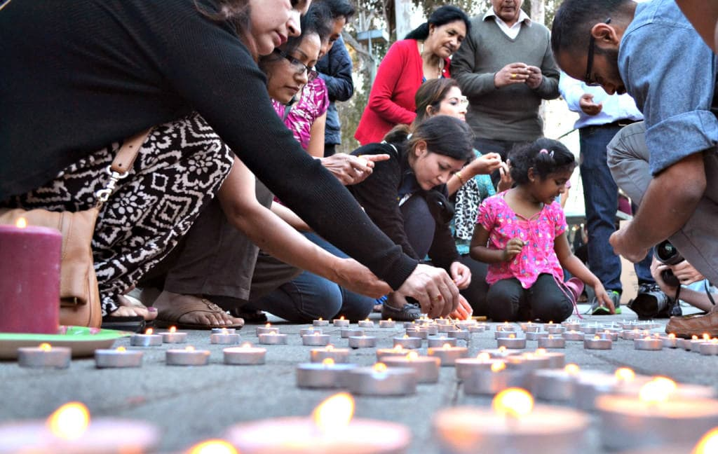 UCSD students join in solidarity to remember victims at the candlelight vigil organized by the Nepalese Student Association.  Photo by Thiba Thiagarajan/UCSD Guardian.