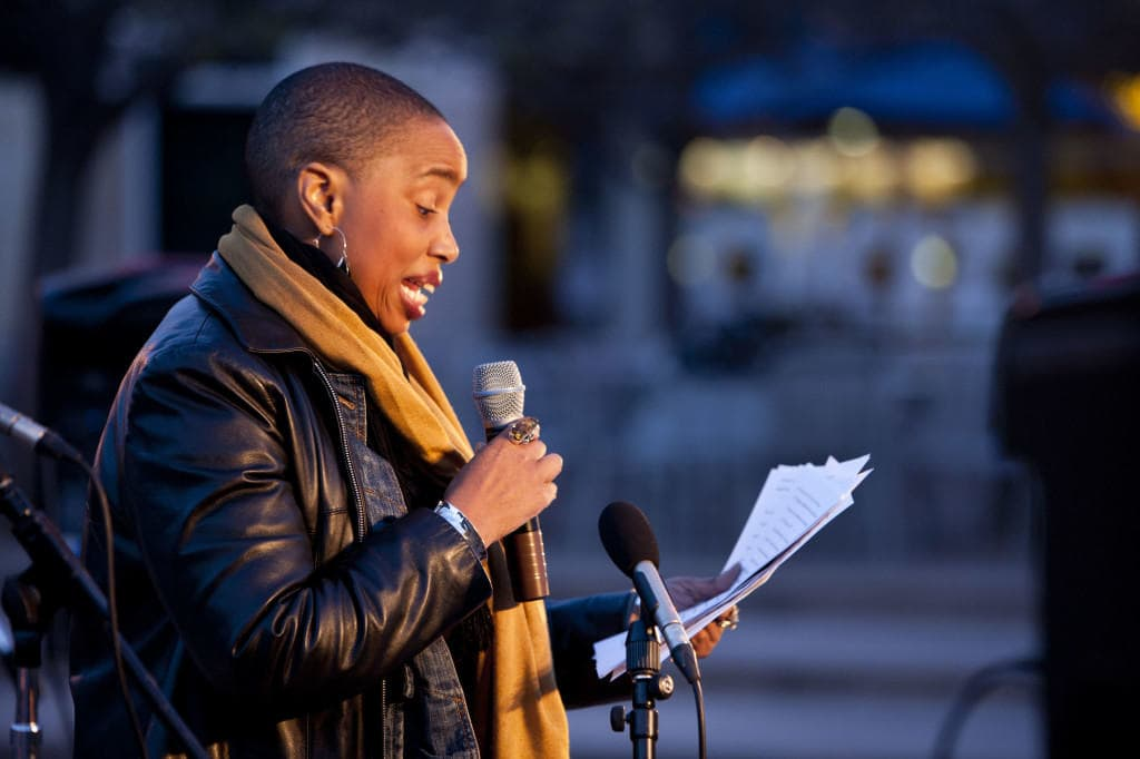 Award-winning feminist, activist and documentary filmmaker Aishah Shahidah Simmons spoke about her experiences with sexual assault at the Take Back the Night event. Photo by Matthias Scheer/ UCSD Guardian