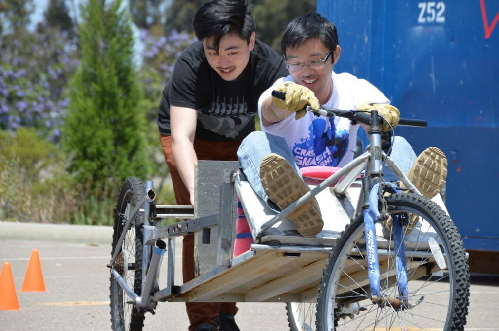 Engineering students gear up for the Junkyard Derby. Photo credit by Jesus Pacheco.