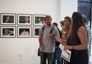 Students admire the University Art Gallery. Photo by Siddharth Atre