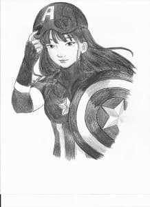 Captain America Jacqueline Guardian art BW