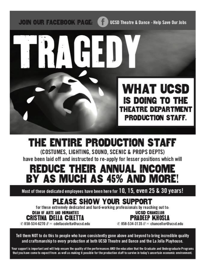 "This ""Help Save Our Jobs"" flyer is being shared around the internet to raise awareness about the Theatre and Dance Department lay offs."