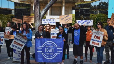 UC-AFT Faculty rally outside Geisel in Feb. 2020. Tanya Bharatula | The UCSD Guardian